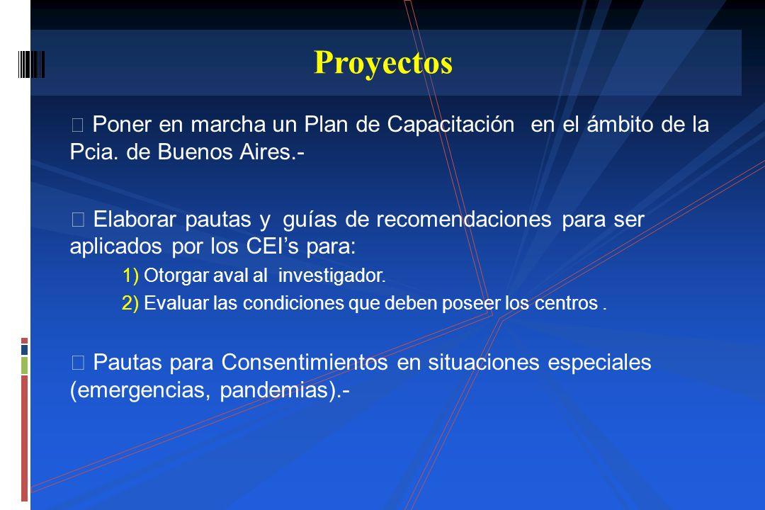 Poner en marcha un Plan de Capacitación en el ámbito de la Pcia. de Buenos Aires.- Elaborar pautas y guías de recomendaciones para ser aplicados por l