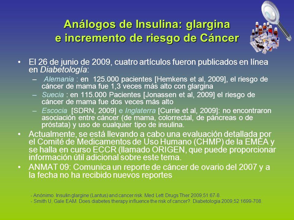 El 26 de junio de 2009, cuatro artículos fueron publicados en línea en Diabetología: – Alemania : en 125.000 pacientes [Hemkens et al, 2009], el riesg