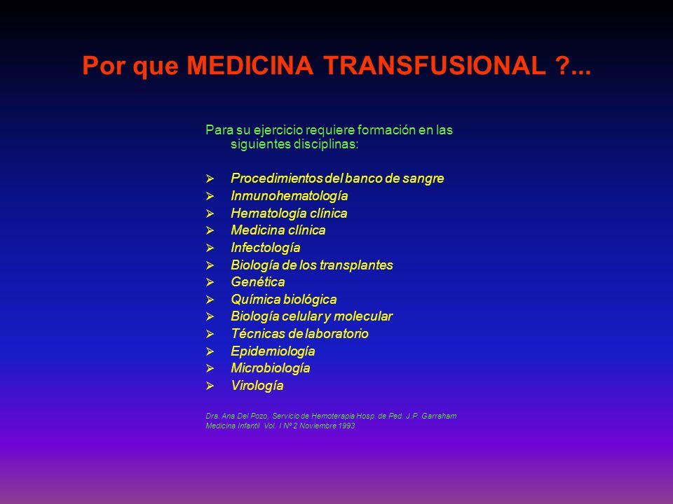 La Medicina Transfusional es la rama multidisciplinaria de la medicina que se ocupa de toda la información disponible, médica, científica y técnica, aplicable a esta especialidad en beneficio de los pacientes que reciben componentes de la sangre o derivados producidos por biotecnología: Blachman, WA.