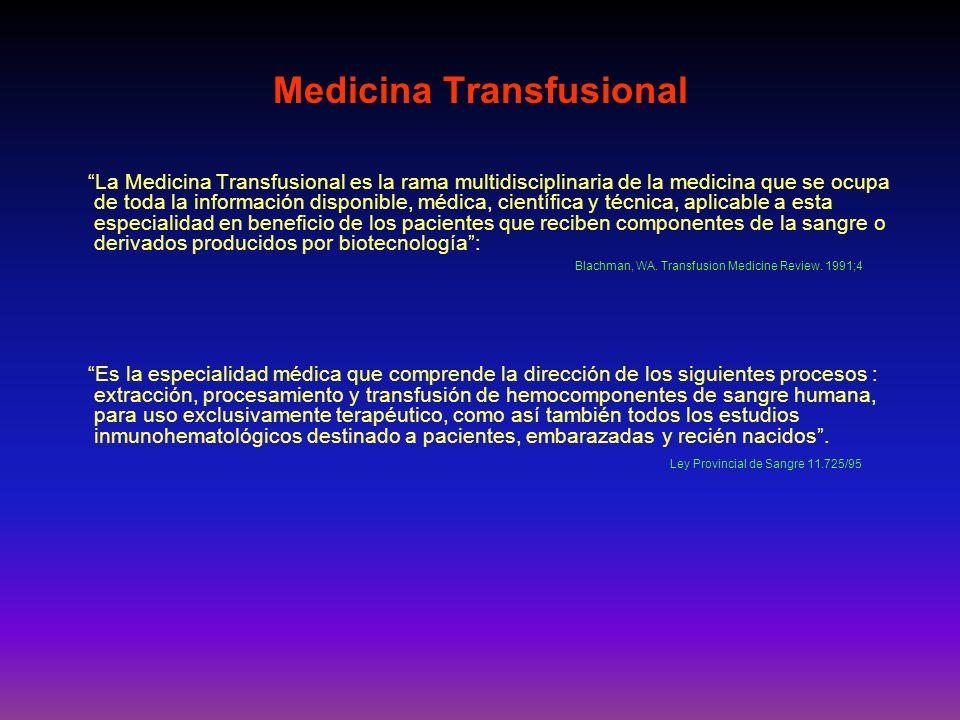 La Medicina Transfusional es la rama multidisciplinaria de la medicina que se ocupa de toda la información disponible, médica, científica y técnica, a