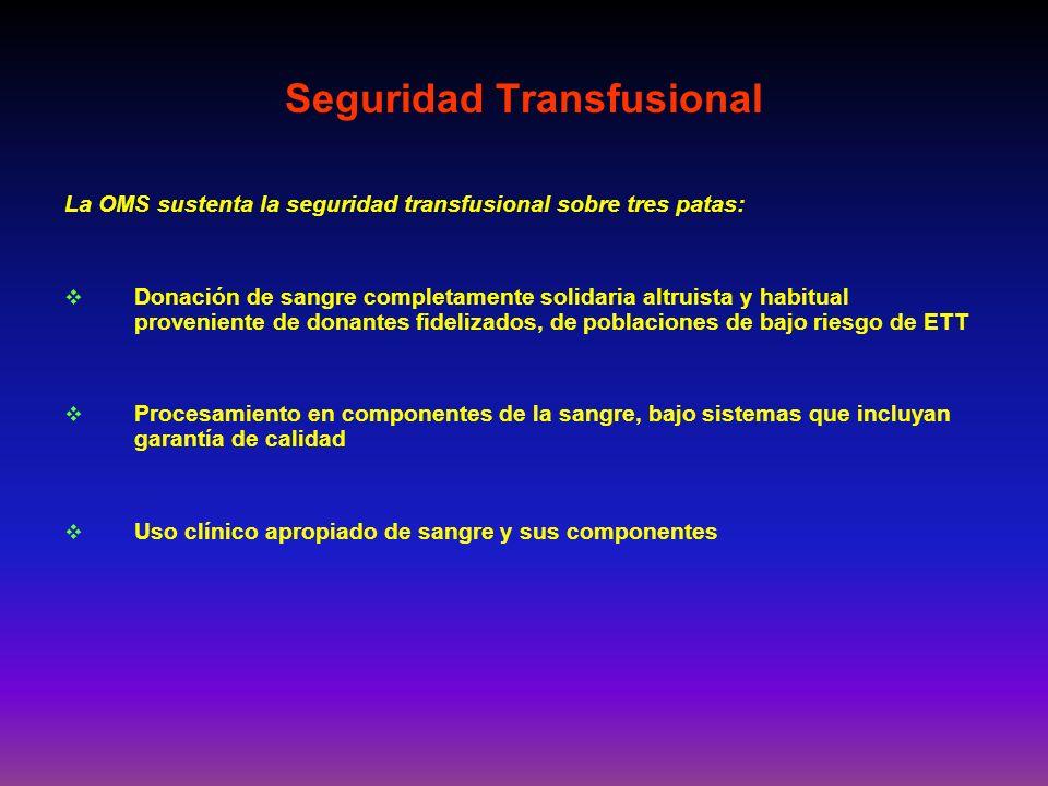 La OMS sustenta la seguridad transfusional sobre tres patas: Donación de sangre completamente solidaria altruista y habitual proveniente de donantes f