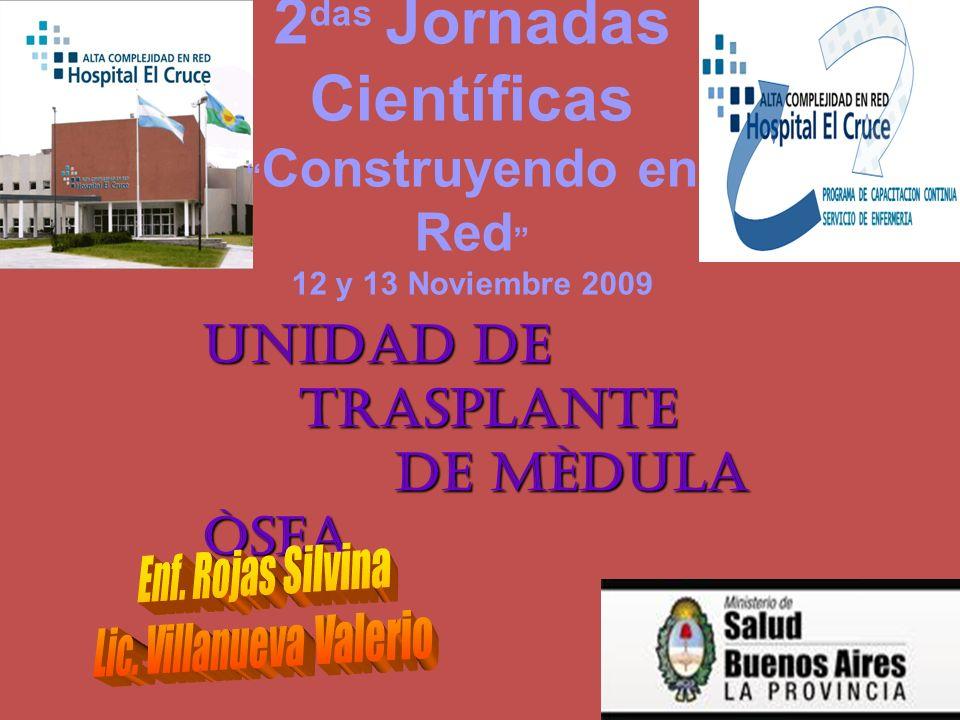 UNIDAD DE TRASPLANTE TRASPLANTE DE MÈDULA ÒSEA DE MÈDULA ÒSEA 2 das Jornadas Científicas Construyendo en Red 12 y 13 Noviembre 2009