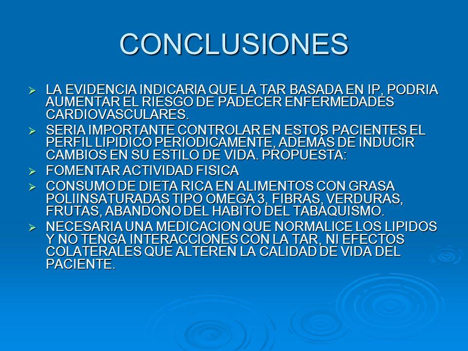 CONCLUSIONES LA EVIDENCIA INDICARIA QUE LA TAR BASADA EN IP, PODRIA AUMENTAR EL RIESGO DE PADECER ENFERMEDADES CARDIOVASCULARES. LA EVIDENCIA INDICARI