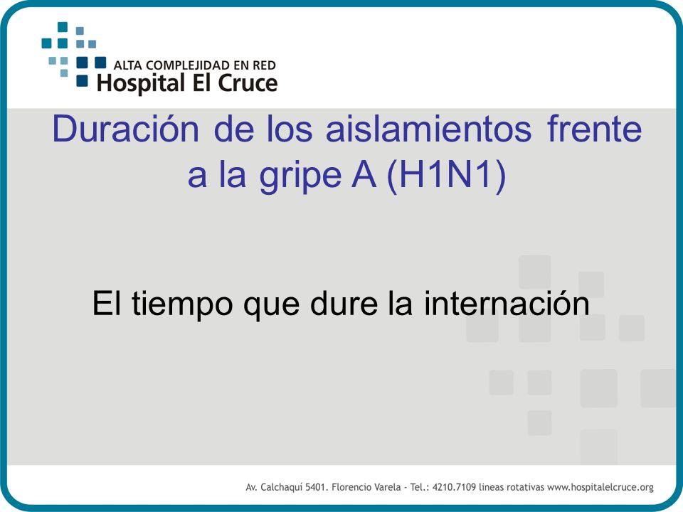 Duración de los aislamientos frente a la gripe A (H1N1) El tiempo que dure la internación