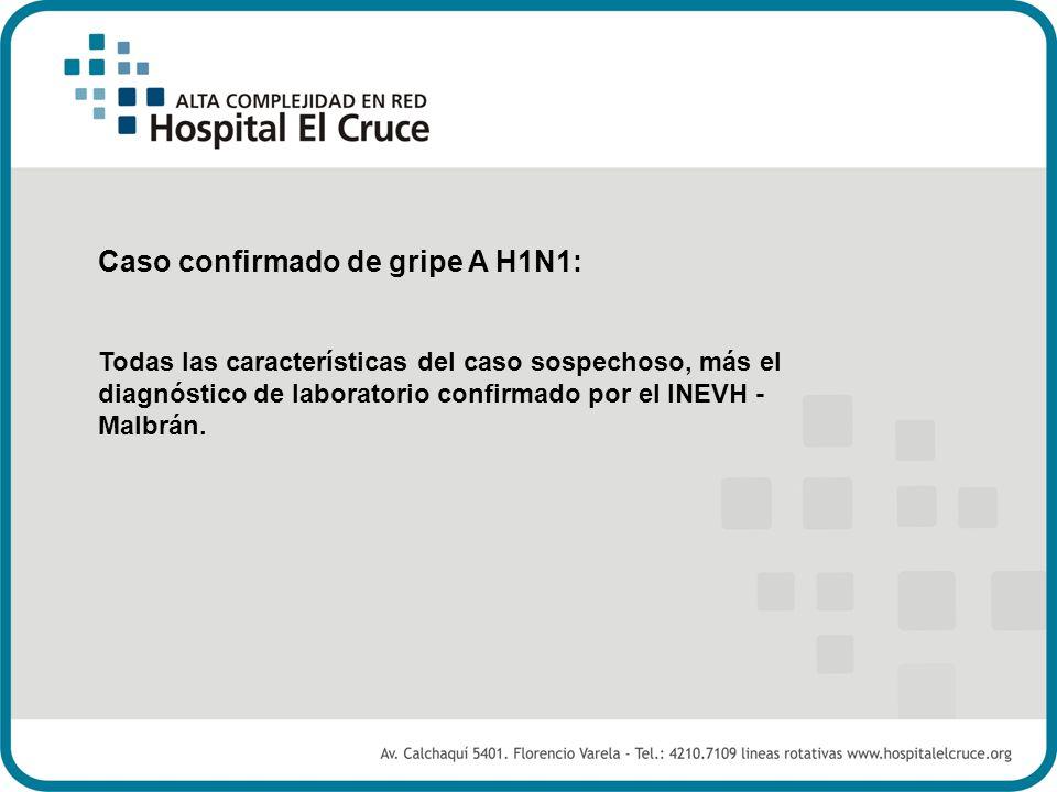 Caso confirmado de gripe A H1N1: Todas las características del caso sospechoso, más el diagnóstico de laboratorio confirmado por el INEVH - Malbrán.