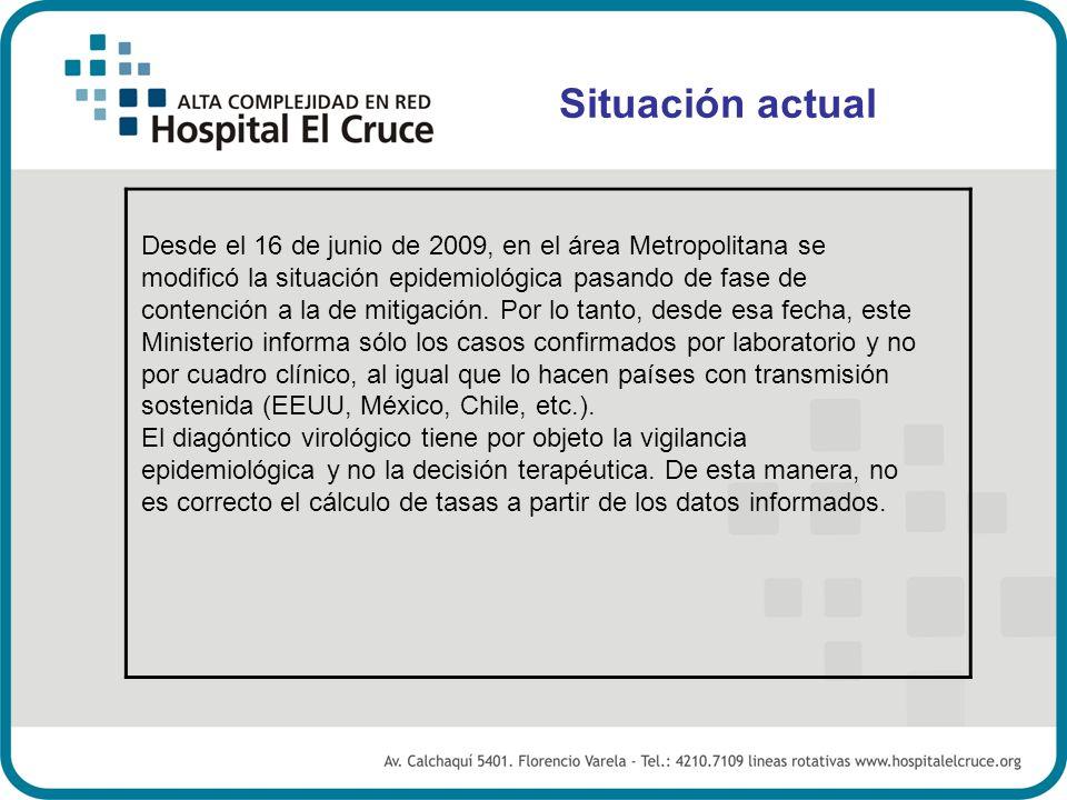 Desde el 16 de junio de 2009, en el área Metropolitana se modificó la situación epidemiológica pasando de fase de contención a la de mitigación. Por l