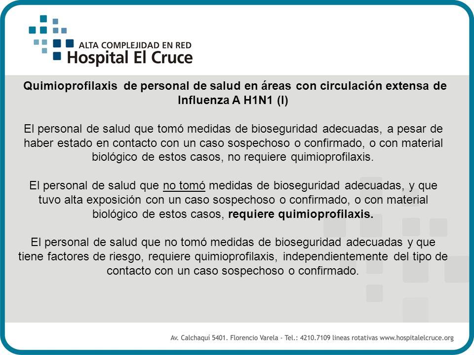 Quimioprofilaxis de personal de salud en áreas con circulación extensa de Influenza A H1N1 (I) El personal de salud que tomó medidas de bioseguridad a