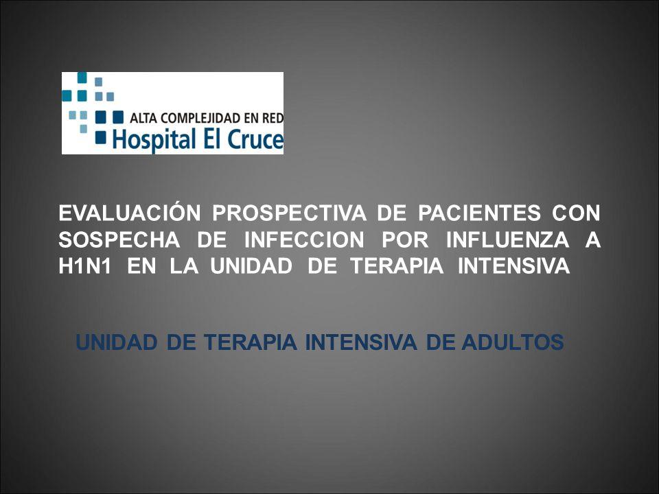 EVALUACIÓN PROSPECTIVA DE PACIENTES CON SOSPECHA DE INFECCION POR INFLUENZA A H1N1 EN LA UNIDAD DE TERAPIA INTENSIVA UNIDAD DE TERAPIA INTENSIVA DE AD