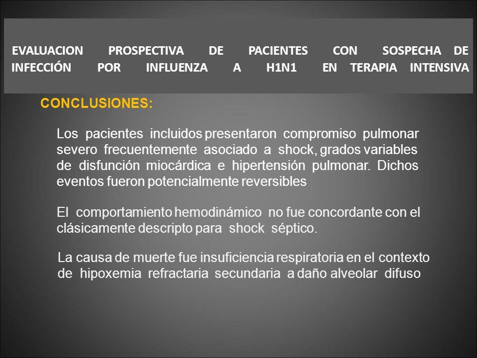 EVALUACION PROSPECTIVA DE PACIENTES CON SOSPECHA DE INFECCIÓN POR INFLUENZA A H1N1 EN TERAPIA INTENSIVA CONCLUSIONES: Los pacientes incluidos presenta