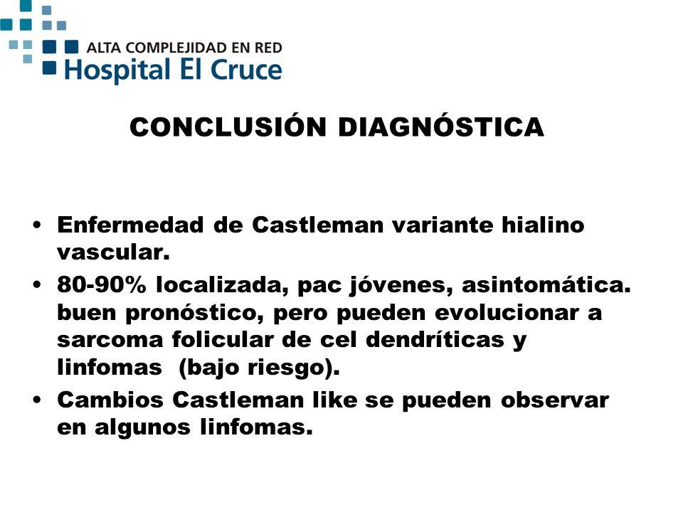 CONCLUSIÓN DIAGNÓSTICA Enfermedad de Castleman variante hialino vascular. 80-90% localizada, pac jóvenes, asintomática. buen pronóstico, pero pueden e