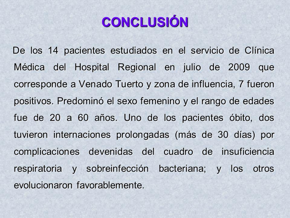 CONCLUSIÓN De los 14 pacientes estudiados en el servicio de Clínica Médica del Hospital Regional en julio de 2009 que corresponde a Venado Tuerto y zo