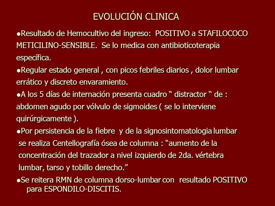 EVOLUCIÓN CLINICA Resultado de Hemocultivo del ingreso: POSITIVO a STAFILOCOCOResultado de Hemocultivo del ingreso: POSITIVO a STAFILOCOCO METICILINO-