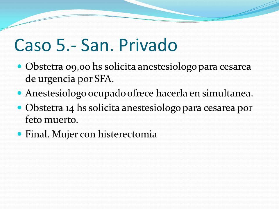 Caso 5.- San.Privado Obstetra 09,00 hs solicita anestesiologo para cesarea de urgencia por SFA.