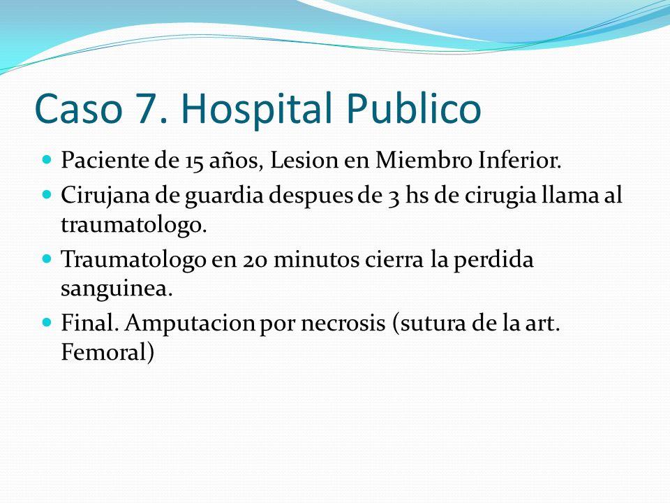 Caso 7. Hospital Publico Paciente de 15 años, Lesion en Miembro Inferior. Cirujana de guardia despues de 3 hs de cirugia llama al traumatologo. Trauma