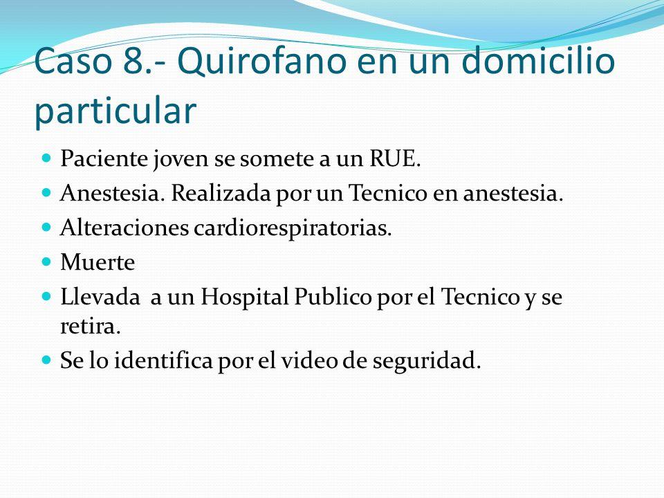 Caso 8.- Quirofano en un domicilio particular Paciente joven se somete a un RUE. Anestesia. Realizada por un Tecnico en anestesia. Alteraciones cardio