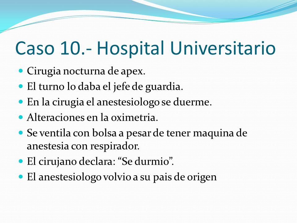Caso 10.- Hospital Universitario Cirugia nocturna de apex. El turno lo daba el jefe de guardia. En la cirugia el anestesiologo se duerme. Alteraciones