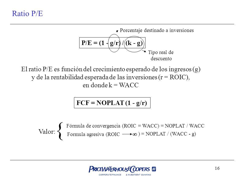 CORPORATE FINANCE& INVESTMENT BANKING 16 Ratio P/E P/E = (1 - g/r) / (k - g) El ratio P/E es función del crecimiento esperado de los ingresos (g) y de
