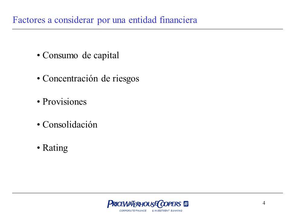 CORPORATE FINANCE& INVESTMENT BANKING 4 Factores a considerar por una entidad financiera Consumo de capital Concentración de riesgos Provisiones Conso