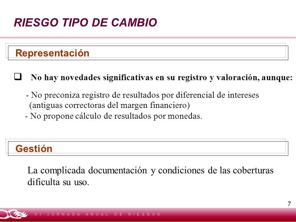 7 RIESGO TIPO DE CAMBIO No hay novedades significativas en su registro y valoración, aunque: - No preconiza registro de resultados por diferencial de intereses (antiguas correctoras del margen financiero) - No propone cálculo de resultados por monedas.