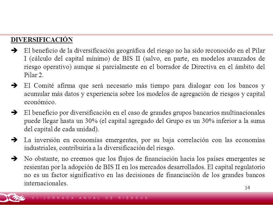 14 DIVERSIFICACIÓN El beneficio de la diversificación geográfica del riesgo no ha sido reconocido en el Pilar I (cálculo del capital mínimo) de BIS II