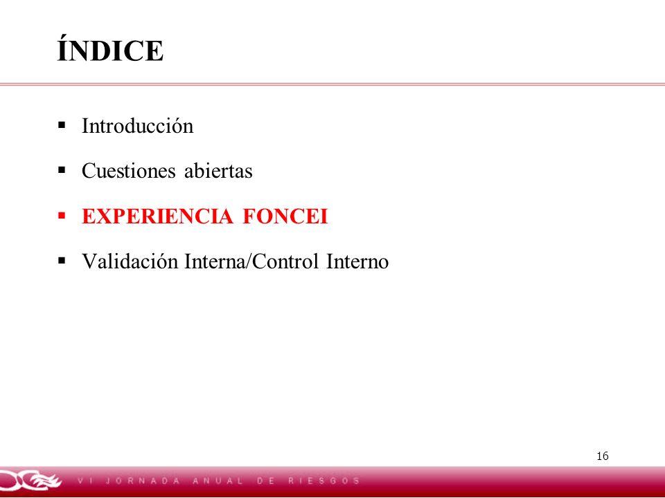 16 ÍNDICE Introducción Cuestiones abiertas EXPERIENCIA FONCEI Validación Interna/Control Interno