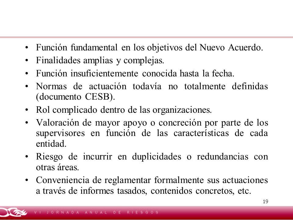 19 Función fundamental en los objetivos del Nuevo Acuerdo. Finalidades amplias y complejas. Función insuficientemente conocida hasta la fecha. Normas