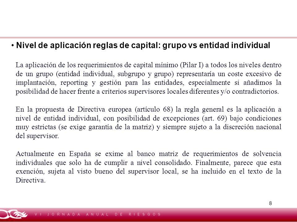 8 Nivel de aplicación reglas de capital: grupo vs entidad individual La aplicación de los requerimientos de capital mínimo (Pilar I) a todos los nivel