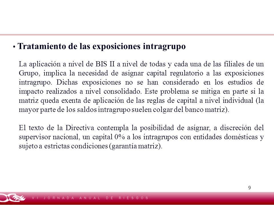 9 Tratamiento de las exposiciones intragrupo La aplicación a nivel de BIS II a nivel de todas y cada una de las filiales de un Grupo, implica la neces