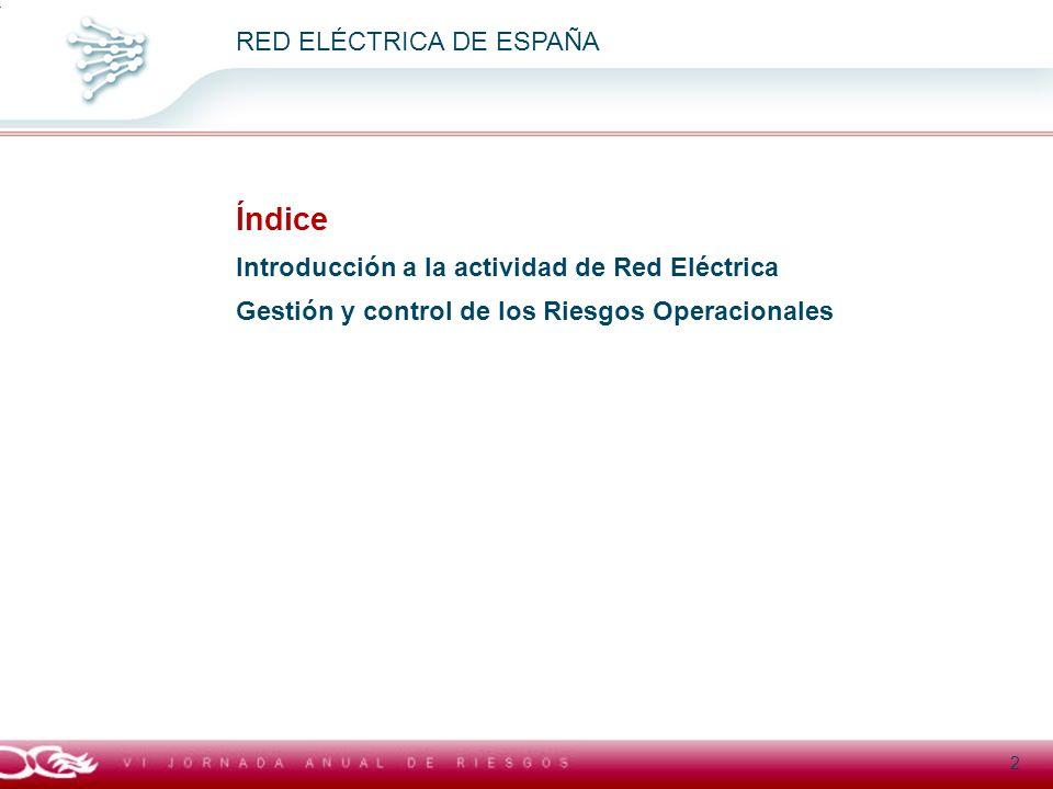 Título general presentación RED ELÉCTRICA DE ESPAÑA Índice Introducción a la actividad de Red Eléctrica Gestión y control de los Riesgos Operacionales
