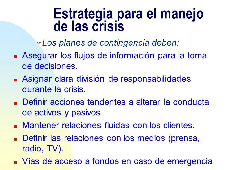 Estrategia para el manejo de las crisis F Los planes de contingencia deben: n Asegurar los flujos de información para la toma de decisiones. n Asignar