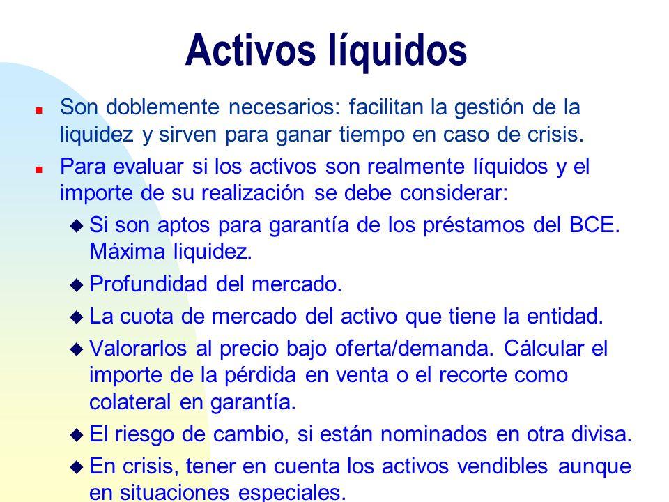 Activos líquidos n Son doblemente necesarios: facilitan la gestión de la liquidez y sirven para ganar tiempo en caso de crisis. n Para evaluar si los
