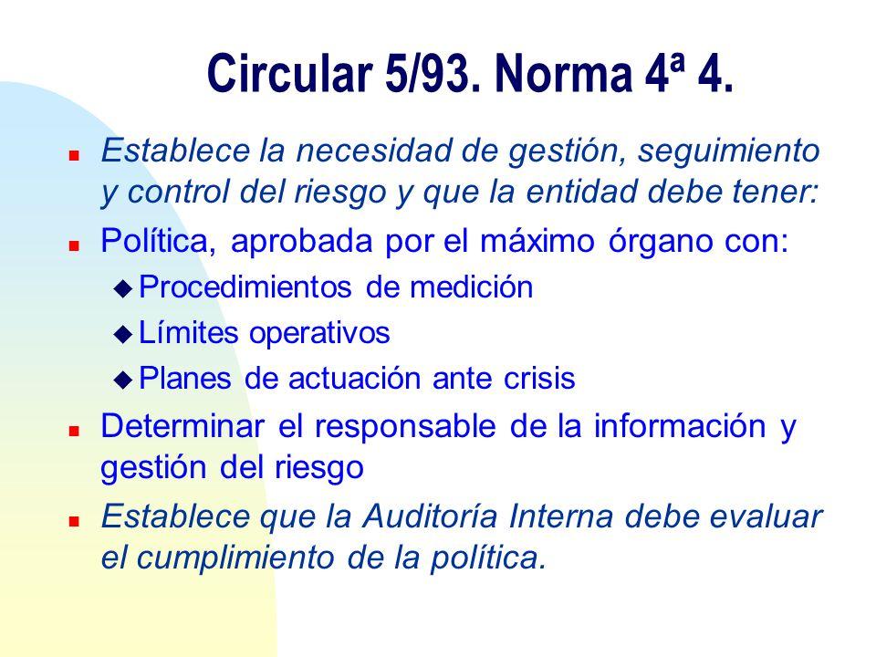 Circular 5/93. Norma 4ª 4. n Establece la necesidad de gestión, seguimiento y control del riesgo y que la entidad debe tener: n Política, aprobada por