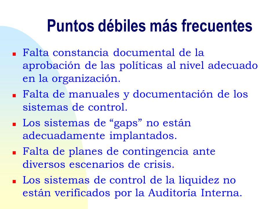 Puntos débiles más frecuentes n Falta constancia documental de la aprobación de las políticas al nivel adecuado en la organización. n Falta de manuale