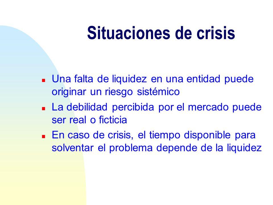 Situaciones de crisis n Una falta de liquidez en una entidad puede originar un riesgo sistémico n La debilidad percibida por el mercado puede ser real