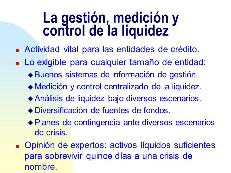 La gestión, medición y control de la liquidez n Actividad vital para las entidades de crédito. n Lo exigible para cualquier tamaño de entidad: u Bueno