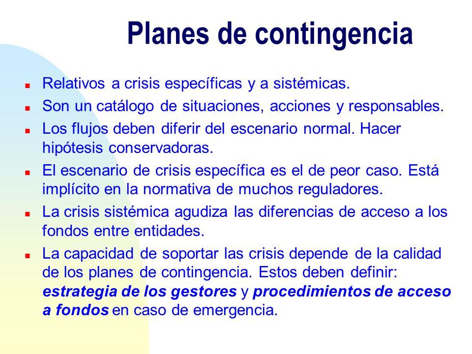 Planes de contingencia n Relativos a crisis específicas y a sistémicas. n Son un catálogo de situaciones, acciones y responsables. n Los flujos deben