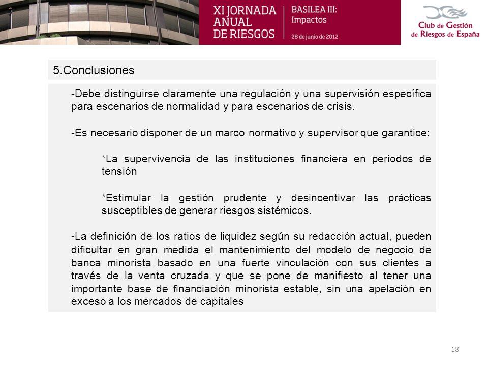 5.Conclusiones 18 -Debe distinguirse claramente una regulación y una supervisión específica para escenarios de normalidad y para escenarios de crisis.