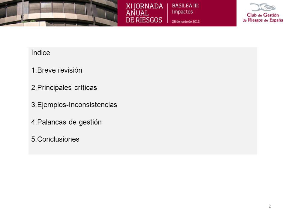 Índice 1.Breve revisión 2.Principales críticas 3.Ejemplos-Inconsistencias 4.Palancas de gestión 5.Conclusiones 2