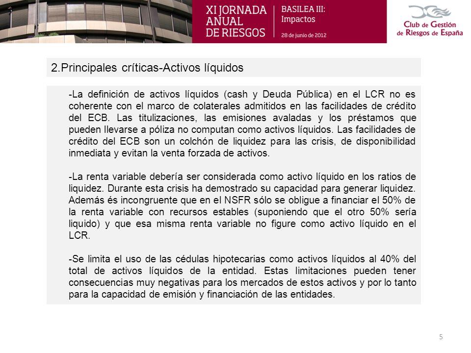 2.Principales críticas-Activos líquidos 5 -La definición de activos líquidos (cash y Deuda Pública) en el LCR no es coherente con el marco de colatera