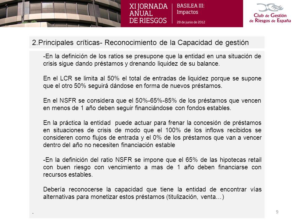 2.Principales críticas- Líneas de Crédito y Avales 10 - Las líneas de crédito deben tratarse en el LCR con impactos de salida fijos que oscilan entre un 5% y un 10%.
