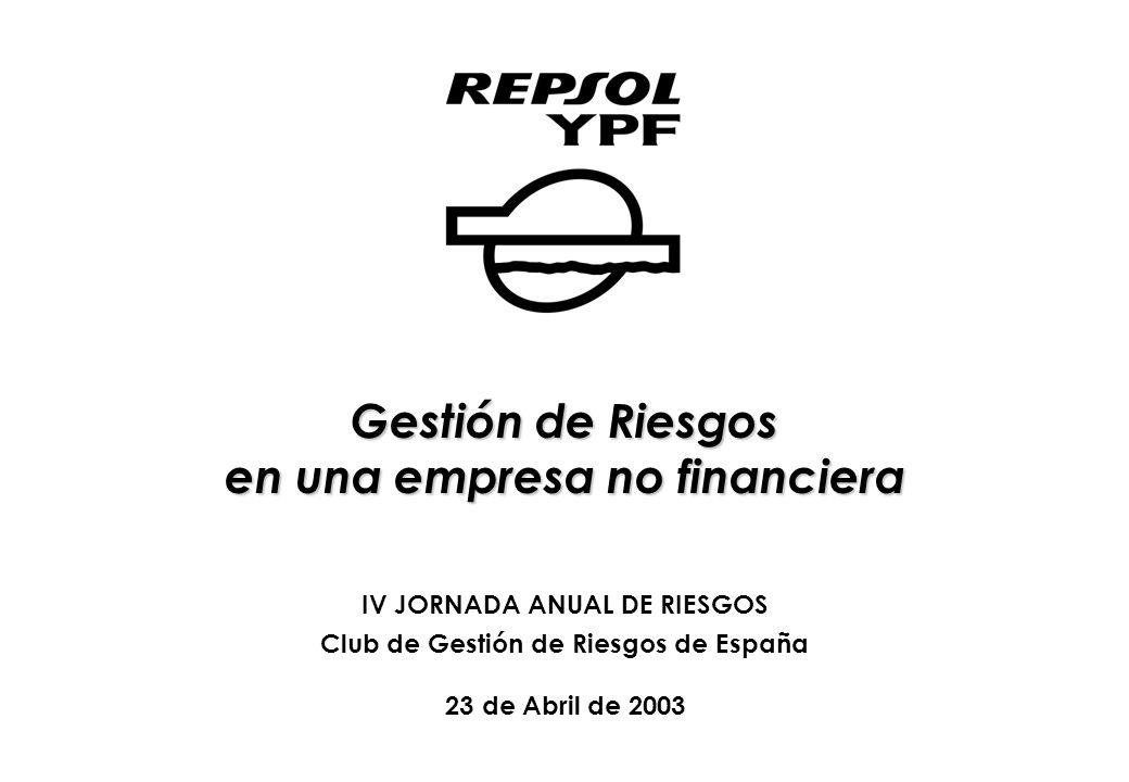 Gestión de Riesgos en una empresa no financiera IV JORNADA ANUAL DE RIESGOS Club de Gestión de Riesgos de España 23 de Abril de 2003