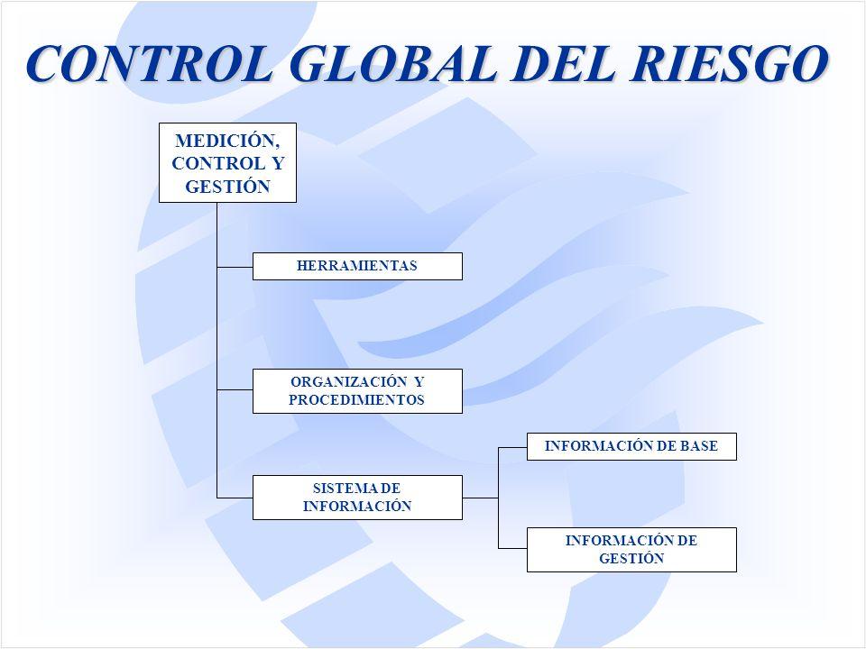 CONTROL GLOBAL DEL RIESGO MEDICIÓN, CONTROL Y GESTIÓN SISTEMA DE INFORMACIÓN ORGANIZACIÓN Y PROCEDIMIENTOS HERRAMIENTAS INFORMACIÓN DE BASE INFORMACIÓN DE GESTIÓN