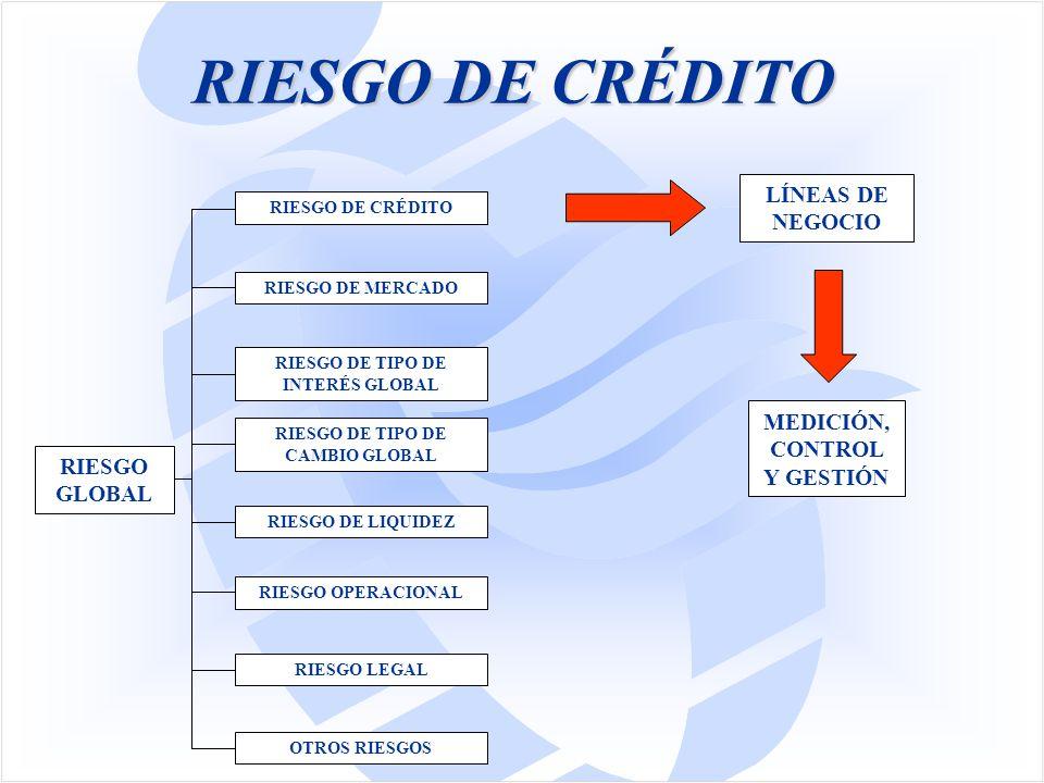 RIESGO DE CRÉDITO RIESGO GLOBAL RIESGO DE TIPO DE INTERÉS GLOBAL RIESGO DE TIPO DE CAMBIO GLOBAL RIESGO DE LIQUIDEZ RIESGO OPERACIONAL OTROS RIESGOS RIESGO DE MERCADO RIESGO LEGAL RIESGO DE CRÉDITO LÍNEAS DE NEGOCIO MEDICIÓN, CONTROL Y GESTIÓN