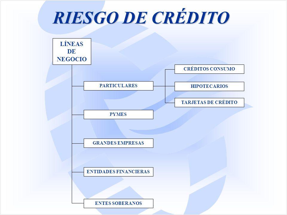 RIESGO DE CRÉDITO LÍNEAS DE NEGOCIO GRANDES EMPRESAS ENTIDADES FINANCIERAS ENTES SOBERANOS PYMES PARTICULARES CRÉDITOS CONSUMO HIPOTECARIOS TARJETAS DE CRÉDITO