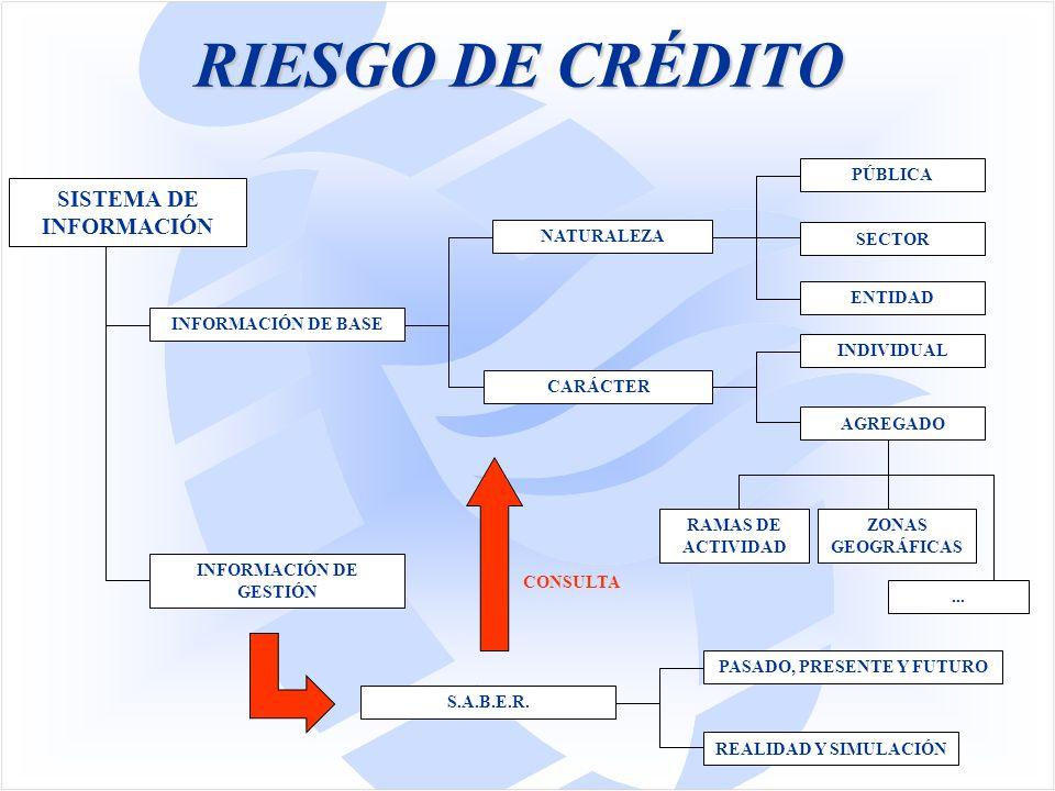 RIESGO DE CRÉDITO SISTEMA DE INFORMACIÓN INFORMACIÓN DE GESTIÓN INFORMACIÓN DE BASE NATURALEZA CARÁCTER PÚBLICA SECTOR ENTIDAD INDIVIDUAL AGREGADO RAMAS DE ACTIVIDAD...