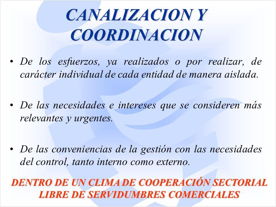 CANALIZACION Y COORDINACION De los esfuerzos, ya realizados o por realizar, de carácter individual de cada entidad de manera aislada.
