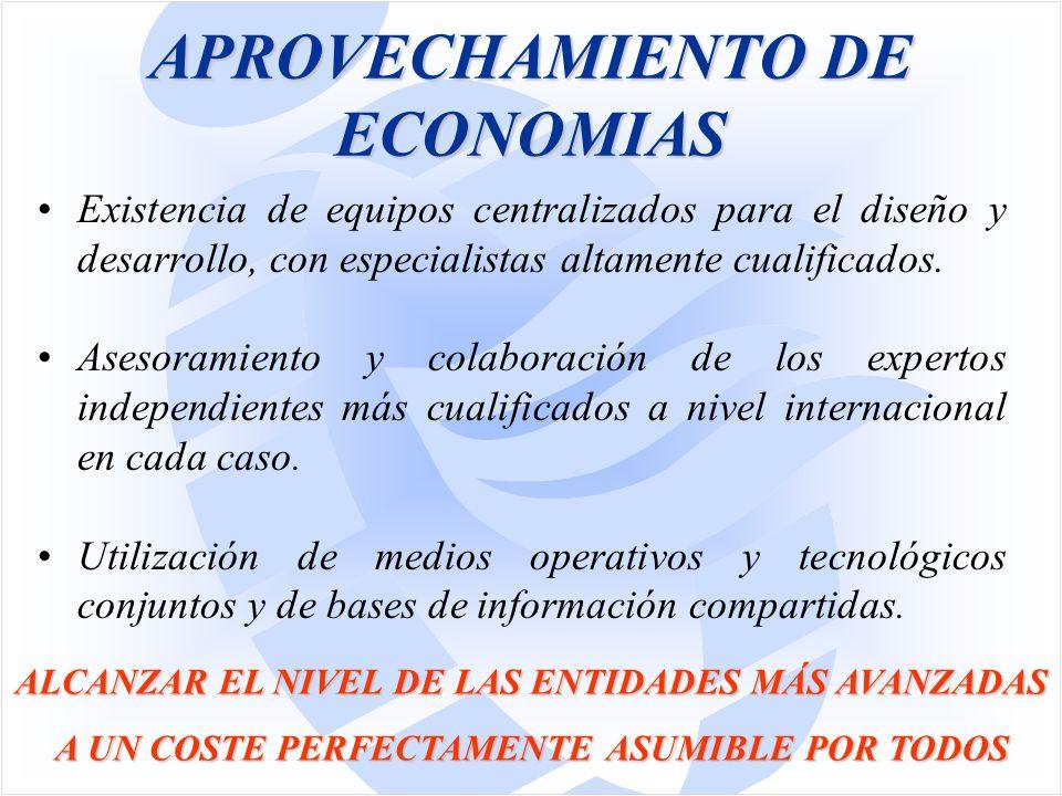 APROVECHAMIENTO DE ECONOMIAS Existencia de equipos centralizados para el diseño y desarrollo, con especialistas altamente cualificados.