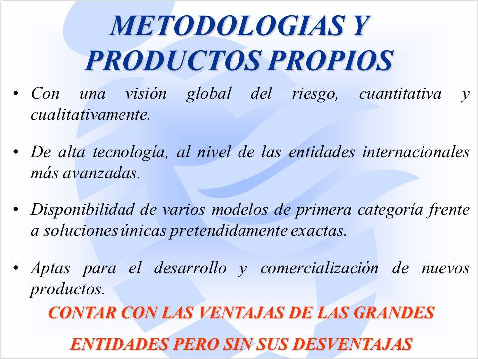 METODOLOGIAS Y PRODUCTOS PROPIOS Con una visión global del riesgo, cuantitativa y cualitativamente.