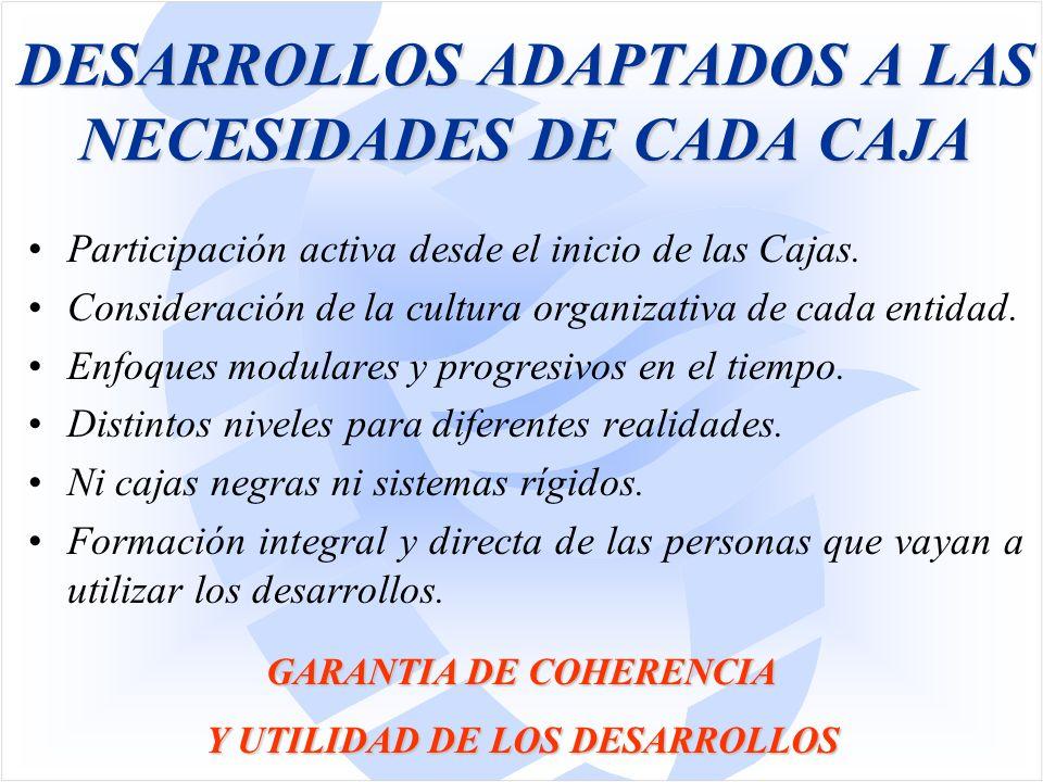DESARROLLOS ADAPTADOS A LAS NECESIDADES DE CADA CAJA Participación activa desde el inicio de las Cajas.