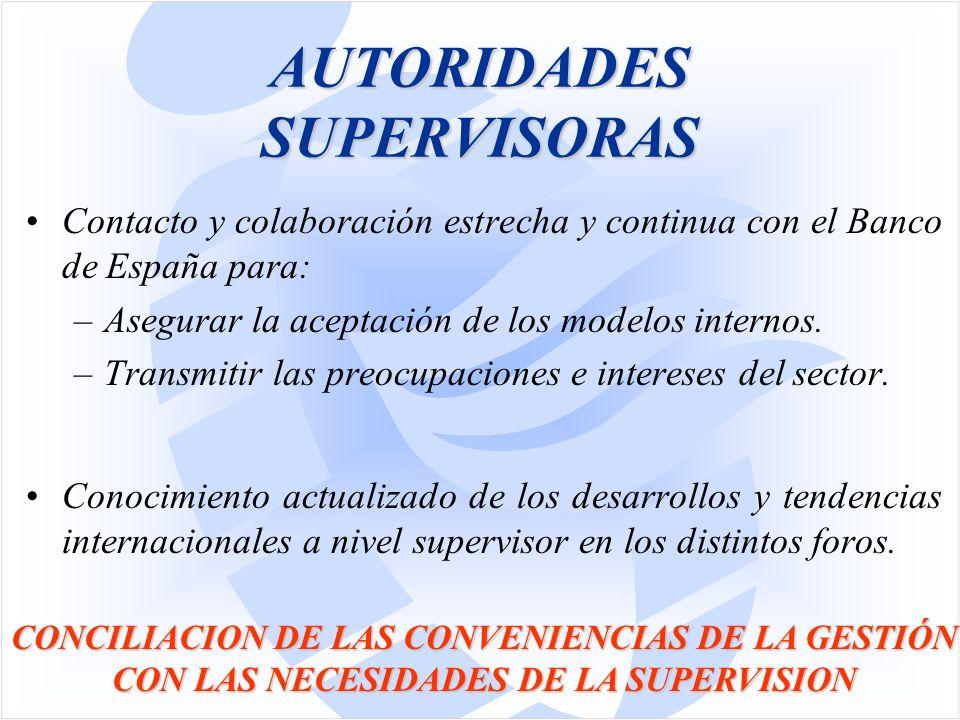 AUTORIDADES SUPERVISORAS Contacto y colaboración estrecha y continua con el Banco de España para: –Asegurar la aceptación de los modelos internos.
